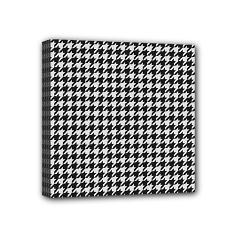Friendly Houndstooth Pattern,black And White Mini Canvas 4  X 4  by MoreColorsinLife