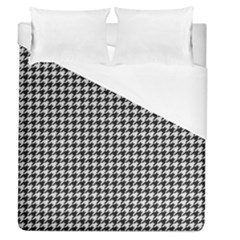 Friendly Houndstooth Pattern,black And White Duvet Cover (queen Size) by MoreColorsinLife