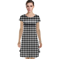 Friendly Houndstooth Pattern,black And White Cap Sleeve Nightdress by MoreColorsinLife