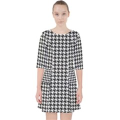 Friendly Houndstooth Pattern,black And White Pocket Dress by MoreColorsinLife