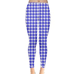 Friendly Houndstooth Pattern,blue Leggings  by MoreColorsinLife