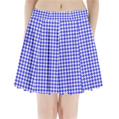 Friendly Houndstooth Pattern,blue Pleated Mini Skirt by MoreColorsinLife