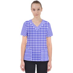 Friendly Houndstooth Pattern,blue Scrub Top by MoreColorsinLife