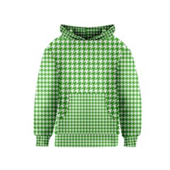 Friendly Houndstooth Pattern,green Kids  Pullover Hoodie by MoreColorsinLife