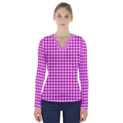 Friendly Houndstooth Pattern,pink V Neck Long Sleeve Top by MoreColorsinLife