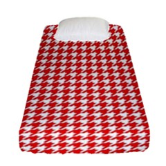 Friendly Houndstooth Pattern,red Fitted Sheet (single Size) by MoreColorsinLife