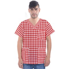 Friendly Houndstooth Pattern,red Men s V Neck Scrub Top by MoreColorsinLife