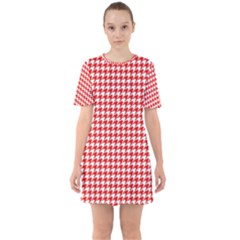 Friendly Houndstooth Pattern,red Sixties Short Sleeve Mini Dress by MoreColorsinLife