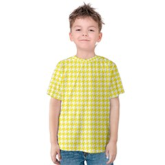 Friendly Houndstooth Pattern,yellow Kids  Cotton Tee by MoreColorsinLife
