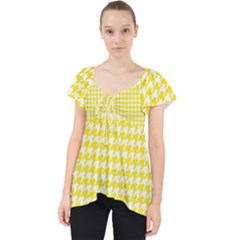 Friendly Houndstooth Pattern,yellow Lace Front Dolly Top by MoreColorsinLife