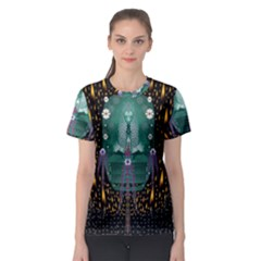 Temple Of Yoga In Light Peace And Human Namaste Style Women s Sport Mesh Tee