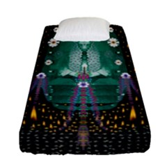 Temple Of Yoga In Light Peace And Human Namaste Style Fitted Sheet (single Size) by pepitasart
