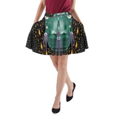 Temple Of Yoga In Light Peace And Human Namaste Style A Line Pocket Skirt