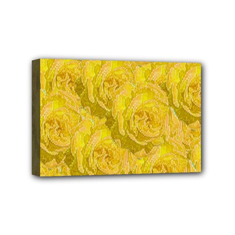 Summer Yellow Roses Dancing In The Season Mini Canvas 6  X 4  by pepitasart