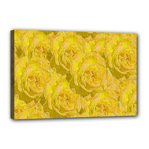 Summer Yellow Roses Dancing In The Season Canvas 18  X 12  by pepitasart