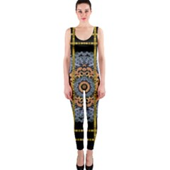 Blue Bloom Golden And Metal Onepiece Catsuit by pepitasart