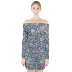 Cactus Pattern Green  Long Sleeve Off Shoulder Dress by Mishacat