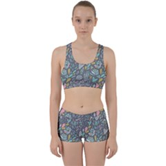 Cactus Pattern Green  Work It Out Sports Bra Set by Mishacat