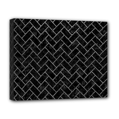 Brick2 Black Marble & Gray Leather Deluxe Canvas 20  X 16   by trendistuff