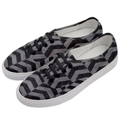 Chevron2 Black Marble & Gray Leather Women s Classic Low Top Sneakers by trendistuff