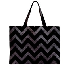 Chevron9 Black Marble & Gray Leather Zipper Mini Tote Bag by trendistuff