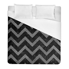 Chevron9 Black Marble & Gray Leather Duvet Cover (full/ Double Size) by trendistuff