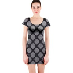 Circles2 Black Marble & Gray Leather Short Sleeve Bodycon Dress