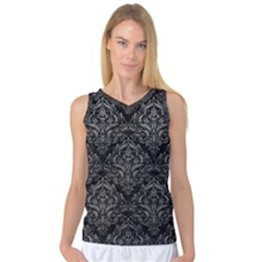 Damask1 Black Marble & Gray Leather Women s Basketball Tank Top