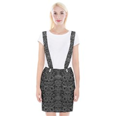Damask2 Black Marble & Gray Leather Braces Suspender Skirt