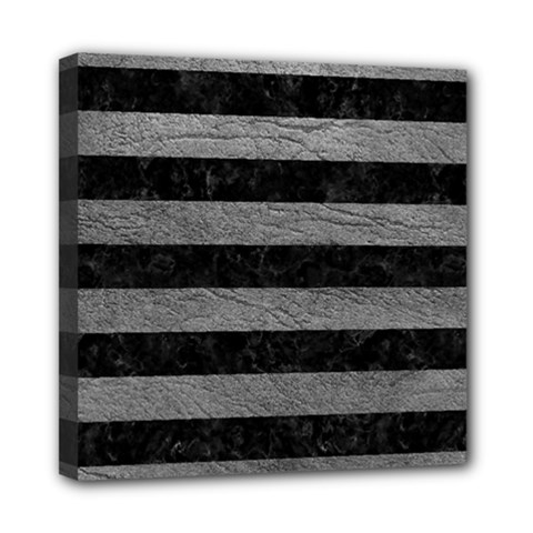 Stripes2 Black Marble & Gray Leather Mini Canvas 8  X 8  by trendistuff