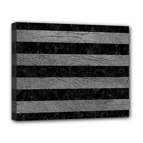 Stripes2 Black Marble & Gray Leather Deluxe Canvas 20  X 16   by trendistuff