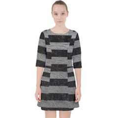 Stripes2 Black Marble & Gray Leather Pocket Dress