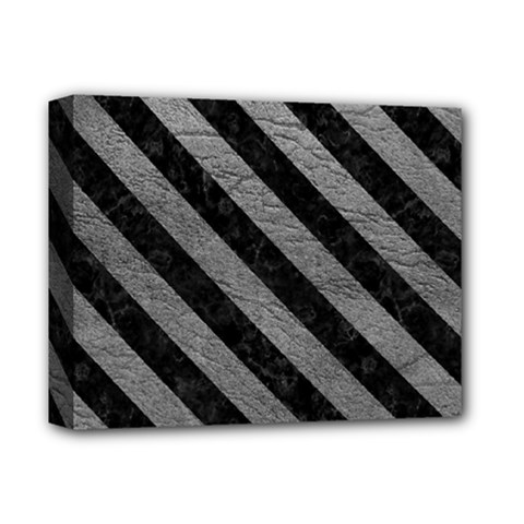 Stripes3 Black Marble & Gray Leather (r) Deluxe Canvas 14  X 11  by trendistuff