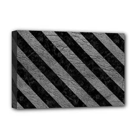 Stripes3 Black Marble & Gray Leather (r) Deluxe Canvas 18  X 12   by trendistuff