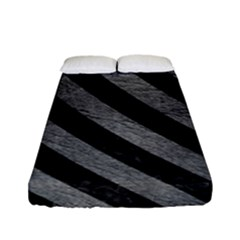 Stripes3 Black Marble & Gray Leather (r) Fitted Sheet (full/ Double Size)