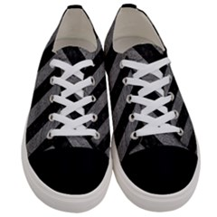 Stripes3 Black Marble & Gray Leather (r) Women s Low Top Canvas Sneakers