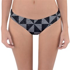 Triangle1 Black Marble & Gray Leather Reversible Hipster Bikini Bottoms by trendistuff