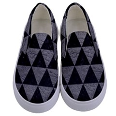 Triangle3 Black Marble & Gray Leather Kids  Canvas Slip Ons