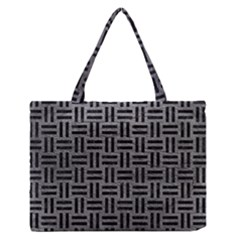 Woven1 Black Marble & Gray Leather (r) Zipper Medium Tote Bag by trendistuff