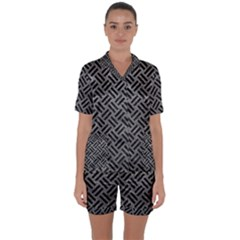 Woven2 Black Marble & Gray Leather (r) Satin Short Sleeve Pyjamas Set