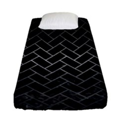 Brick2 Black Marble & Gray Metal 1 Fitted Sheet (single Size) by trendistuff
