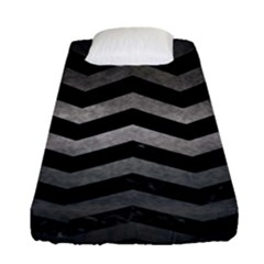 Chevron3 Black Marble & Gray Metal 1 Fitted Sheet (single Size) by trendistuff