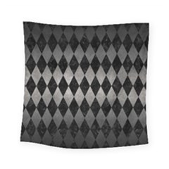 Diamond1 Black Marble & Gray Metal 1 Square Tapestry (small) by trendistuff