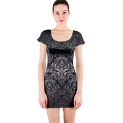 Damask1 Black Marble & Gray Metal 1 Short Sleeve Bodycon Dress