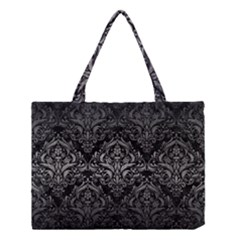 Damask1 Black Marble & Gray Metal 1 Medium Tote Bag by trendistuff