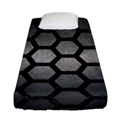 Hexagon2 Black Marble & Gray Metal 1 (r) Fitted Sheet (single Size) by trendistuff