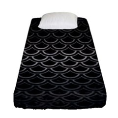 Scales2 Black Marble & Gray Metal 1 Fitted Sheet (single Size) by trendistuff