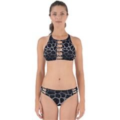Skin1 Black Marble & Gray Metal 1 (r) Perfectly Cut Out Bikini Set