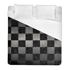 Square1 Black Marble & Gray Metal 1 Duvet Cover (full/ Double Size) by trendistuff
