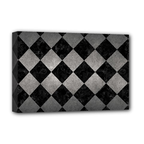 Square2 Black Marble & Gray Metal 1 Deluxe Canvas 18  X 12   by trendistuff